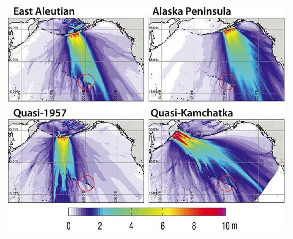 Image: Simulated earthquakes in the Aleutians and resulting tsunamis