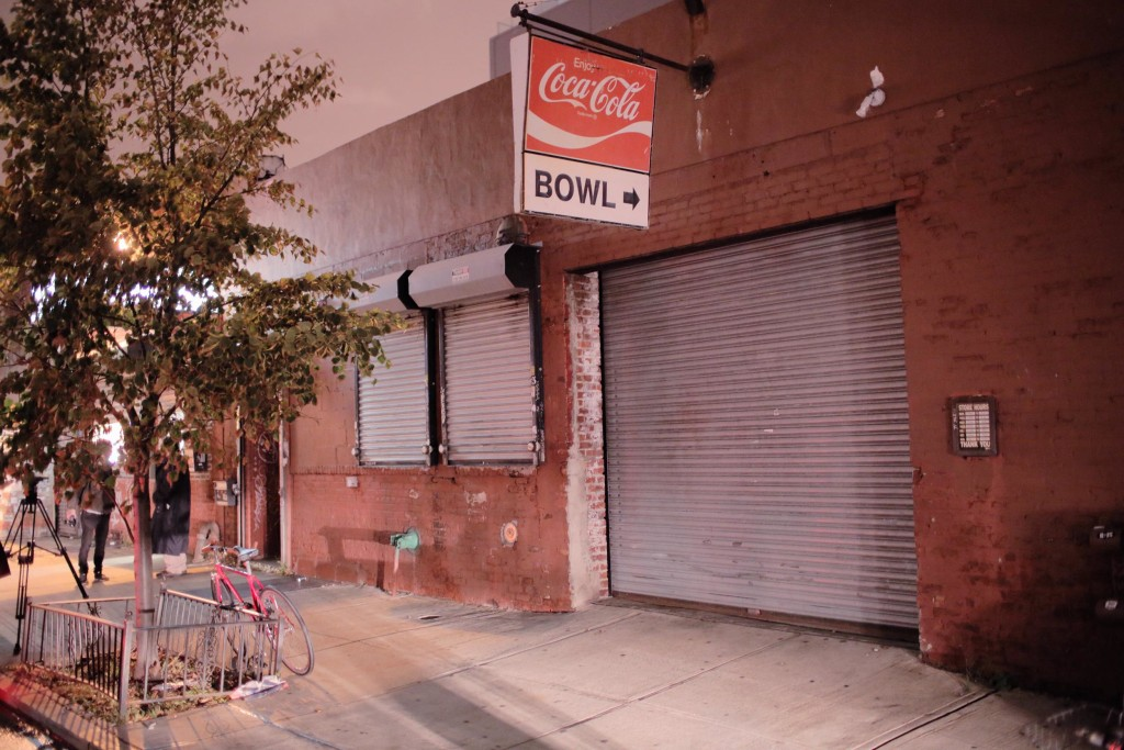 Image: The Gutter, a bowling alley in Brooklyn, New York City, sits closed on Thursday night.