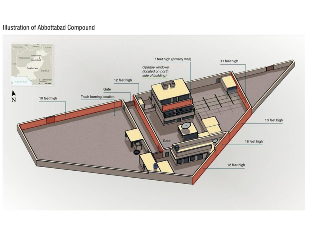Image: An illustrated diagram of Osama bin Laden's compound