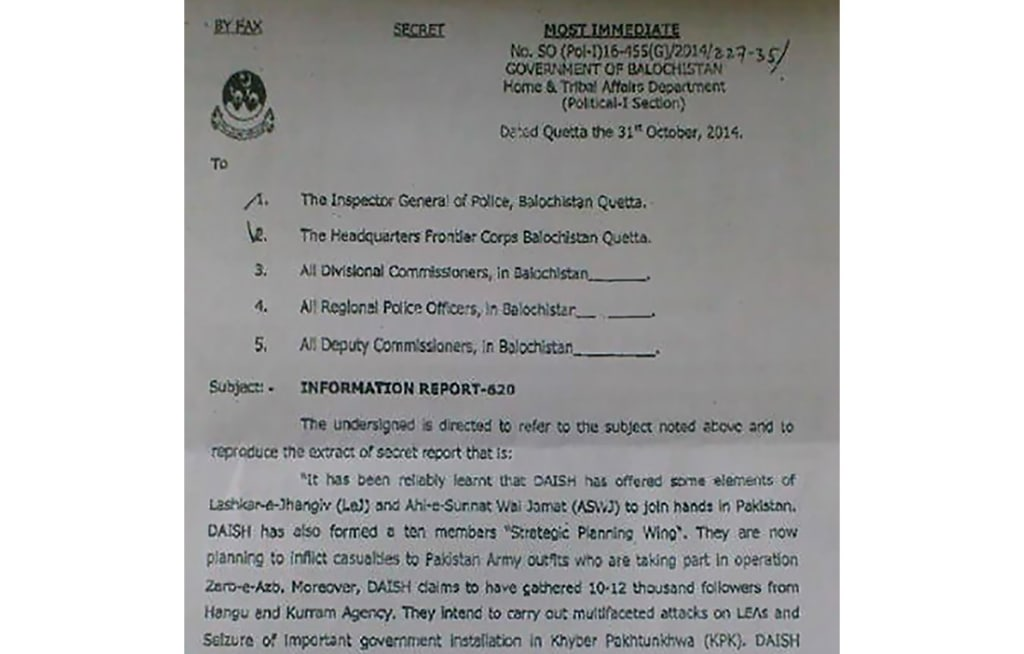 Secret letter sent by the government of Balochistan regarding ISIS activity in Pakistan.