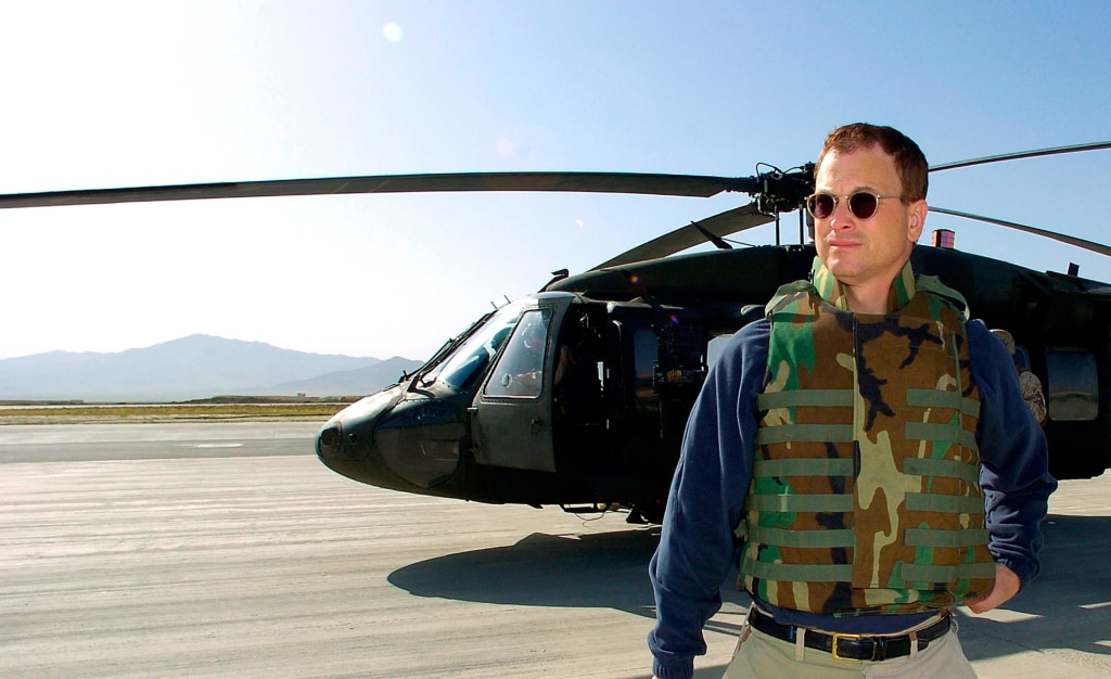 Image: Gary Sinise at Bagram Air Force Base in Afghanistan in 2006.