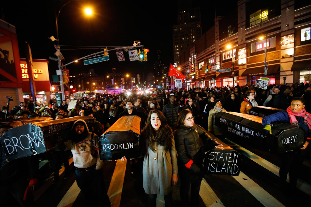 Image: Protesters rallying against a grand jury's decision not to indict the police officer involved in the death of Eric Garner