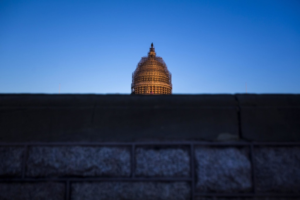 Image: US Capitol Dome at Dusk Encased in Scaffolding