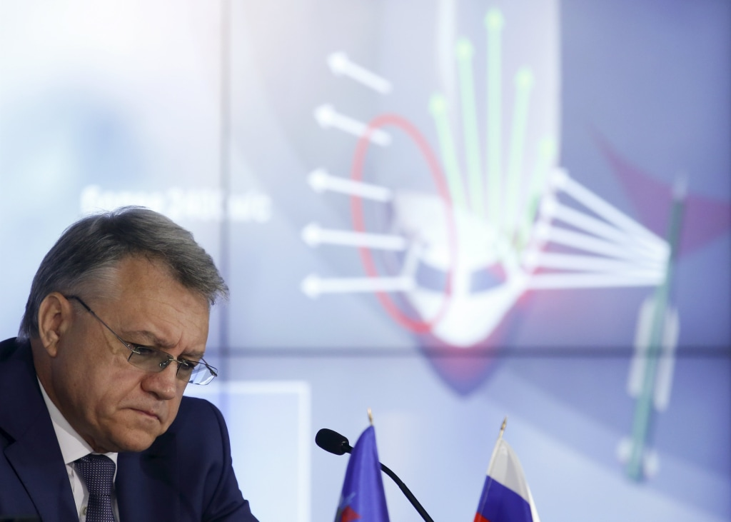 Image: Yan Novikov, chief executive of Russian missile manufacturer Almaz-Antey, attends a news conference in Moscow