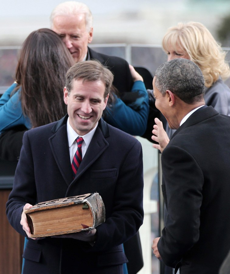 Image: File photo of Beau Biden, son of Vice President Joe Biden, carrying the family bible during the presidential inauguration in Washington