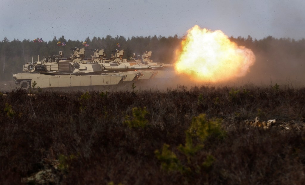 Image: American M1A2 Abrams tanks during an exercise in Lithuania on April 9, 2015