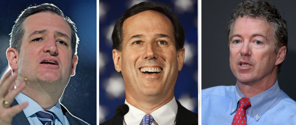 Image: Sen. Ted Cruz, former senator Rick Santorum and Sen. Rand Paul. Three Republican presidential candidates say they are donating to charity the contributions they received from the leader of a white supremacist group mentioned by the alleged perpetra