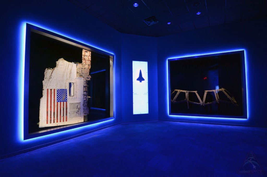 Image: A section of space shuttle Challenger's fuselage and the window frames from space shuttle Columbia
