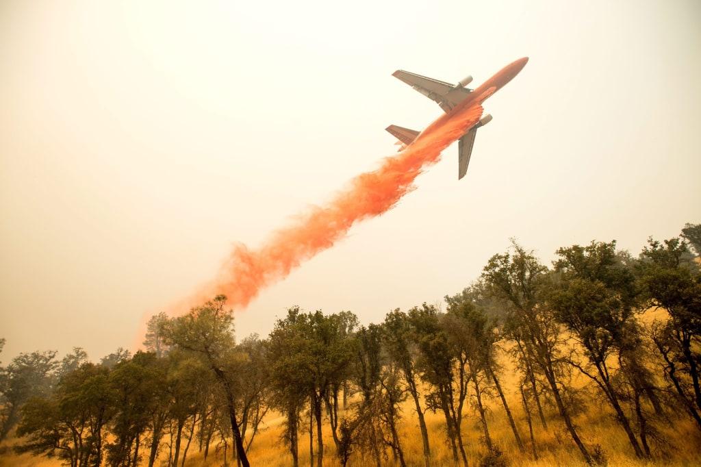 Image: An air tanker near Clearlake, California