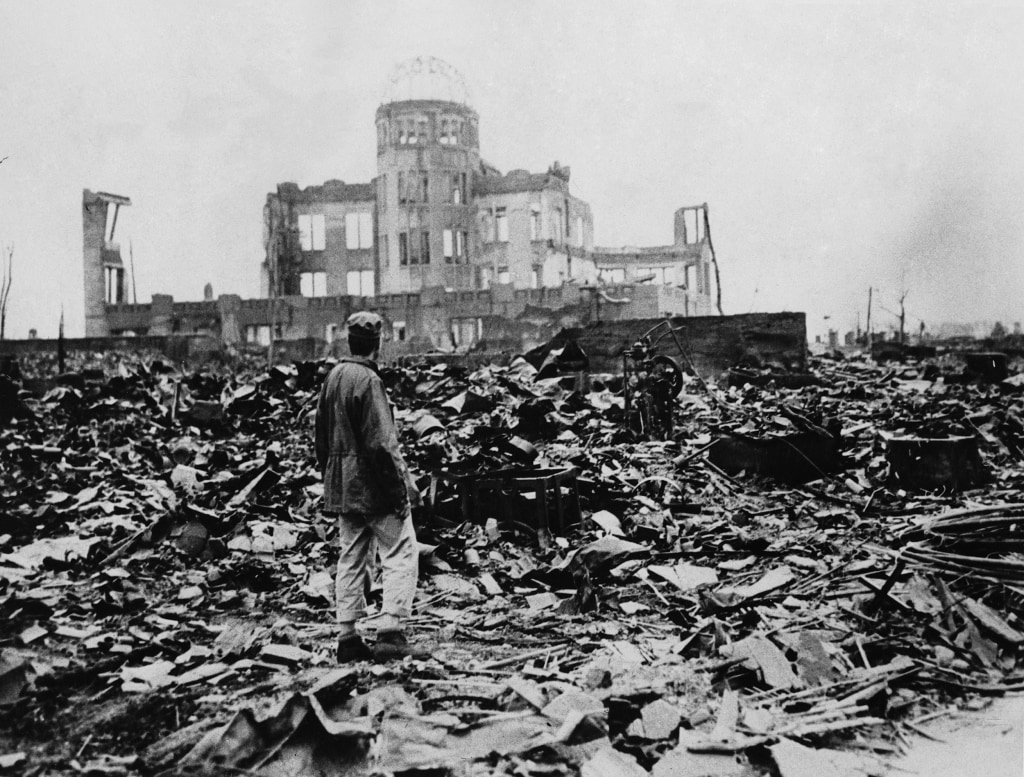 Image: A huge expanse of ruins is seen after the explosion of the atomic bomb