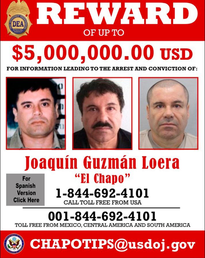 joaquin  u0026 39 el chapo u0026 39  guzman  u s  offers reward for escaped