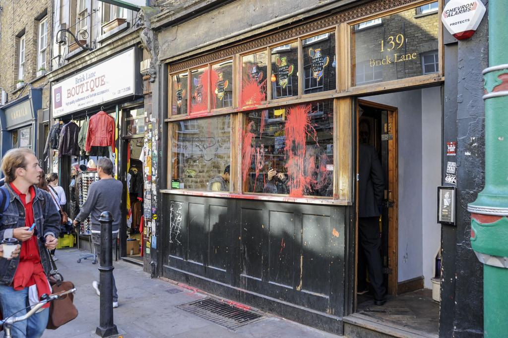Image: Vandalised exterior of the Cereal Killer Cafe