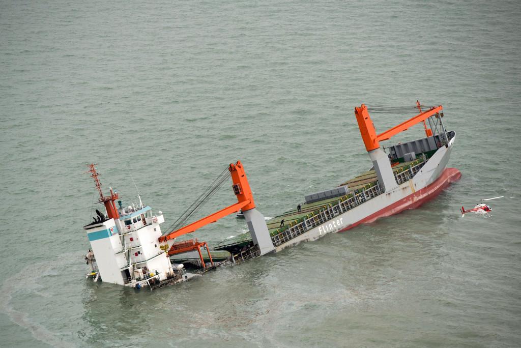 Image: Dutch ship sinks following collision in north Sea