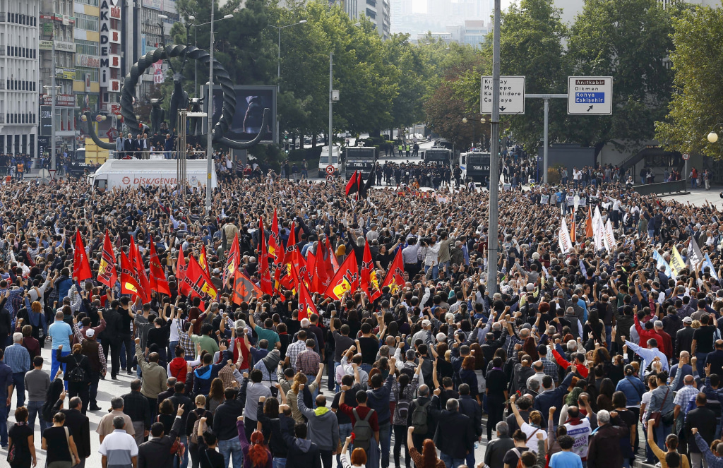 Image: People gather in a square during a commemoration for the victims of Saturday's bomb blasts in the Turkish capital, in Ankara, Turkey