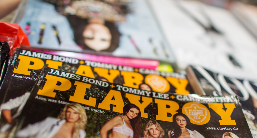 Image: A German edition of Playboy magazine is displayed in a store inMunich, Germany, on Oct. 13. 2015.