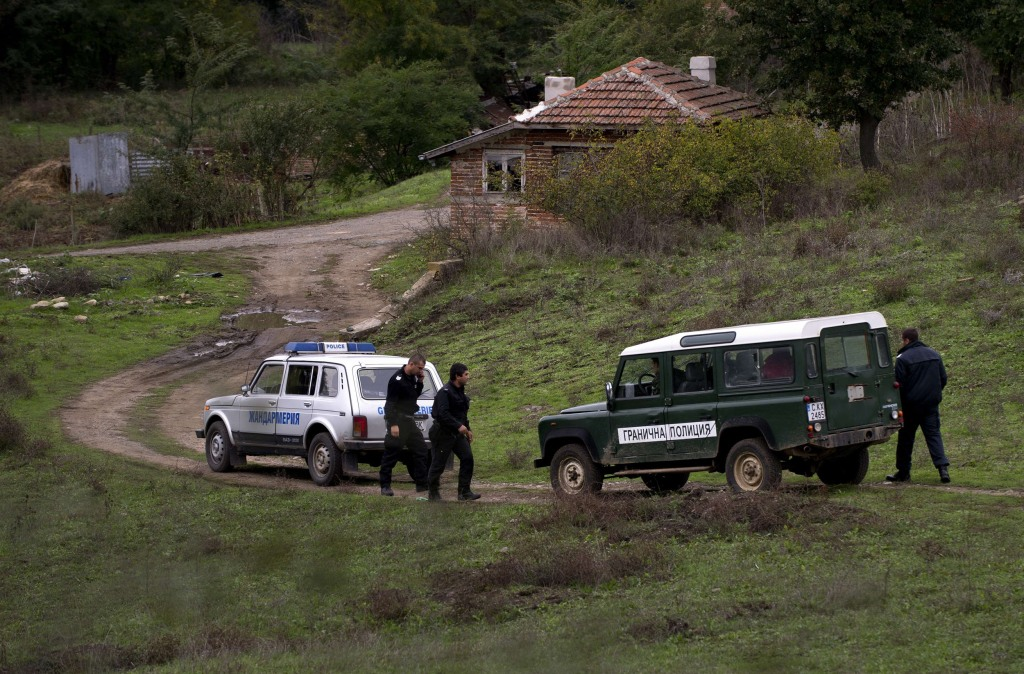 Image: Bulgarian border police officers the near Sredets, Bulgaria where a migrant was shot