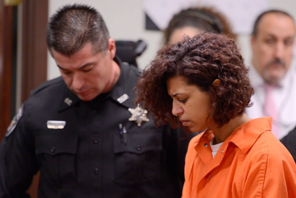 Image: Sarah Ferguson, half-sister of Christopher and Lucas Leonard, appears in court for a preliminary hearing on a second-degree assault charge