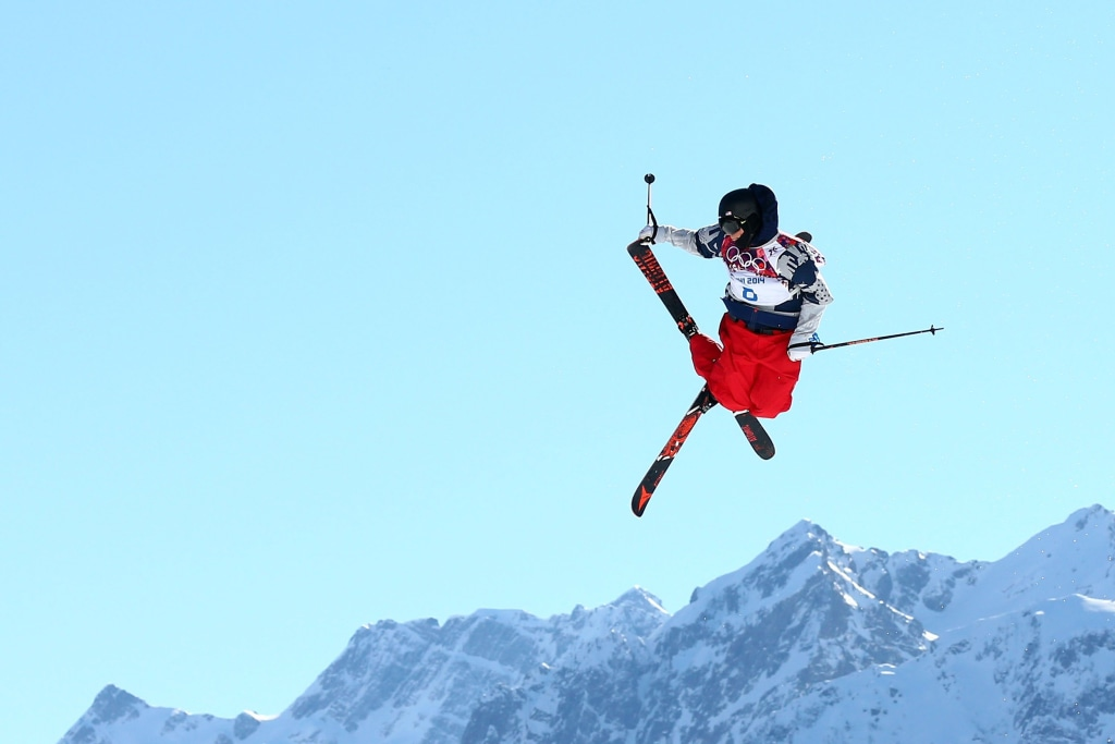 Image: Gus Kenworthy competes in the Freestyle Skiing Men's Ski Slopestyle