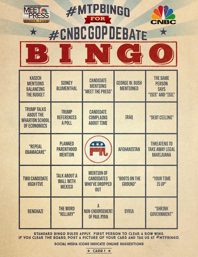 MTP Bingo Debate Card 1 for CNBC GOP Debate