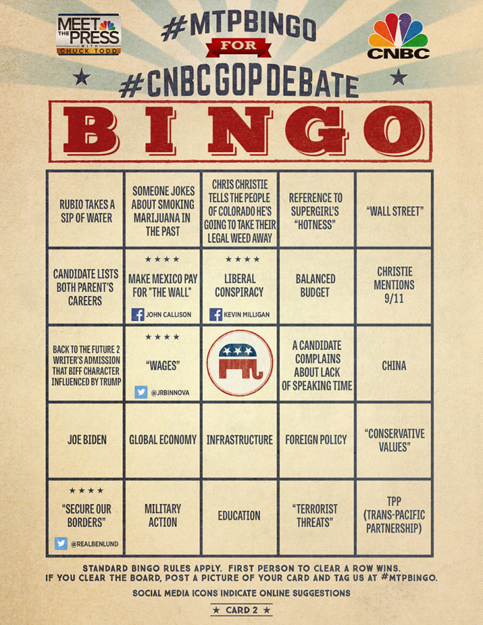 MTP Bingo Card 2 for the CNBC GOP Debate