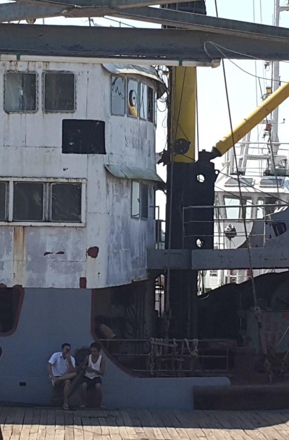 Image: Ko Yar Zar visiting friends at the boat dock