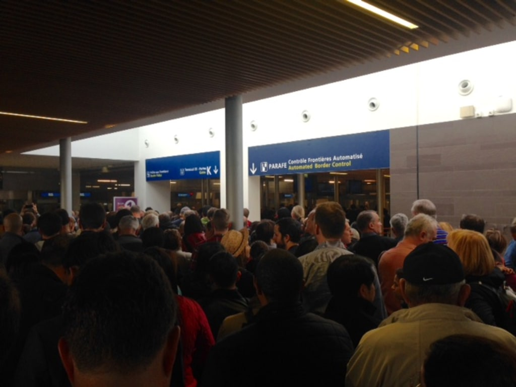 Image: Long lines at Charles de Gaulle Airport on Nov. 14, 2015