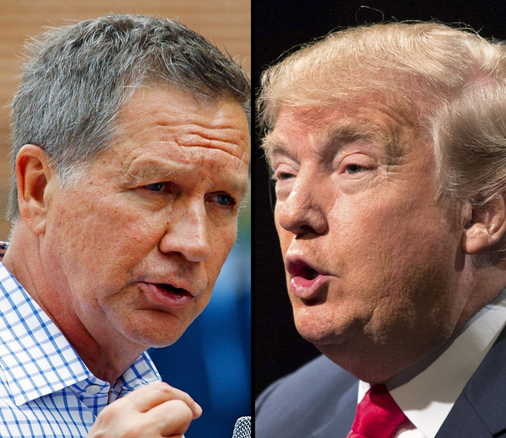 Image: U.S. Republican presidential candidates John Kasich (L) and Donald Trump