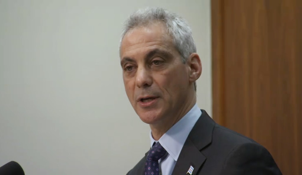 Image: Mayor of Chicago Rahm Emanuel speaks to reporters at a press conference.