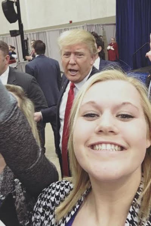 """Chase the Race"" reporter Mikayla Kelz takes a selfie with Donald Trump at the Iowa caucus."