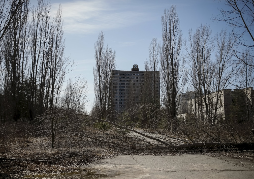 Image: A building in the abandoned city of Pripyat, Ukraine