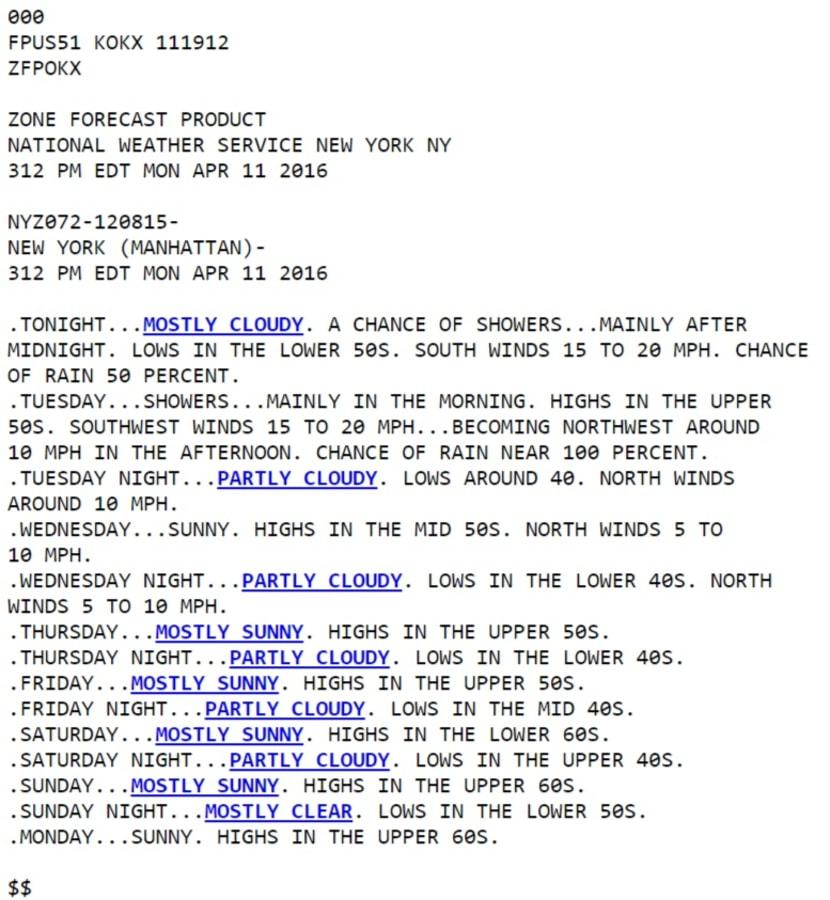 IMAGE: NWS forecast