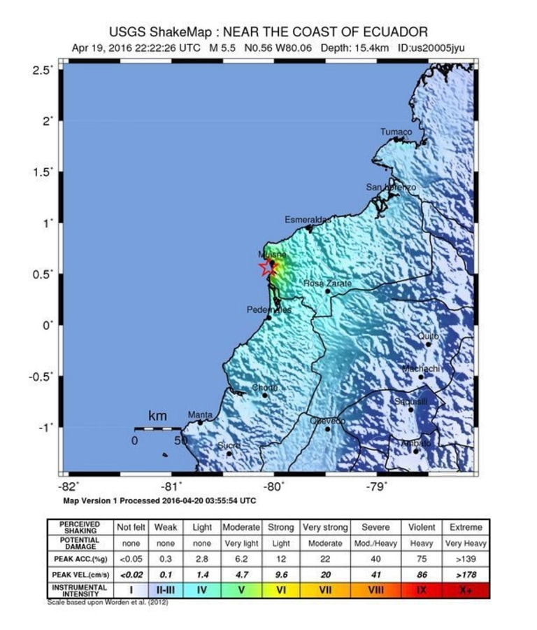 Image: A USGS map showing Wednesday's aftershock