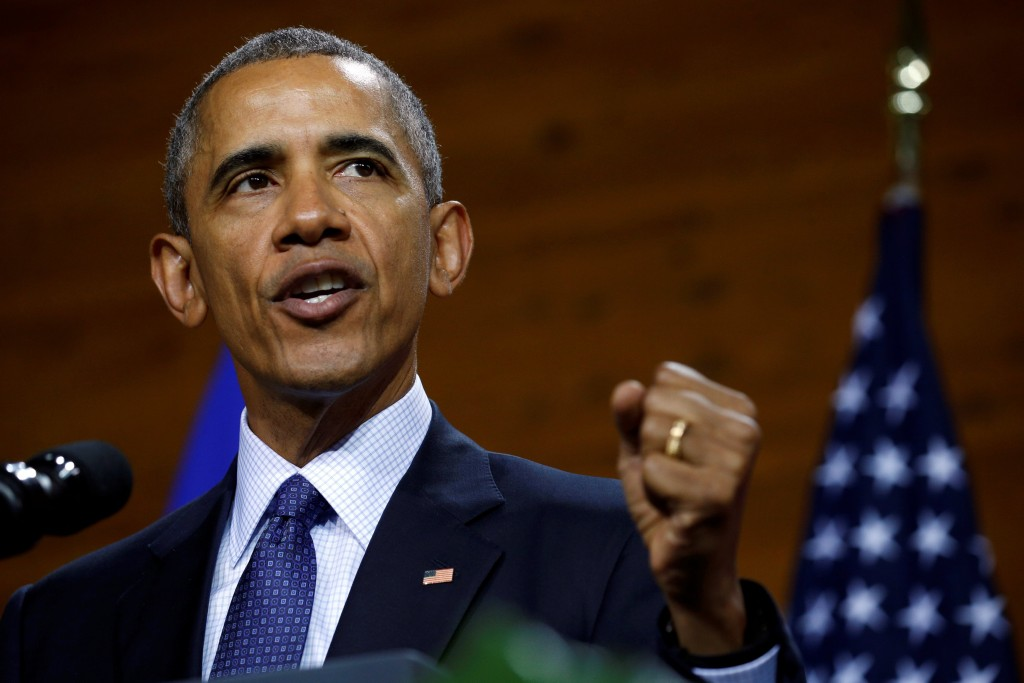 Image: U.S. President Obama delivers a speech during his visit to Hanover