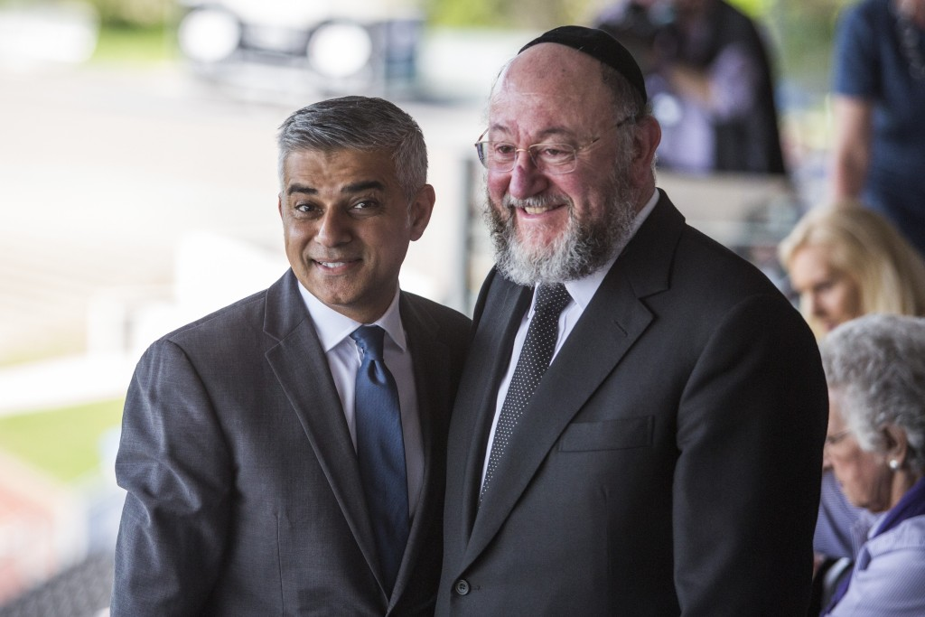 Image: London Mayor Sadiq Khan and Chief Rabbi Ephraim Mirvis