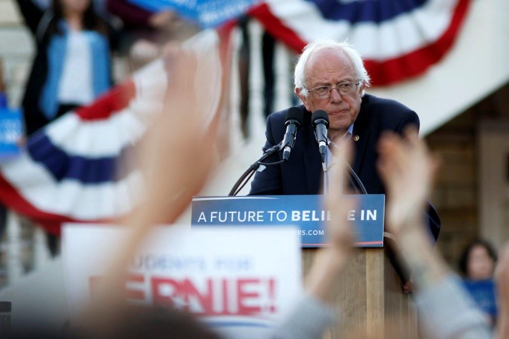 Image: Bernie Sanders speaks during a campaign rally in Monterey