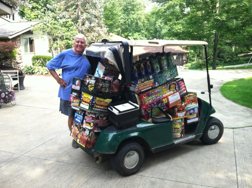 Golf cart of fireworks
