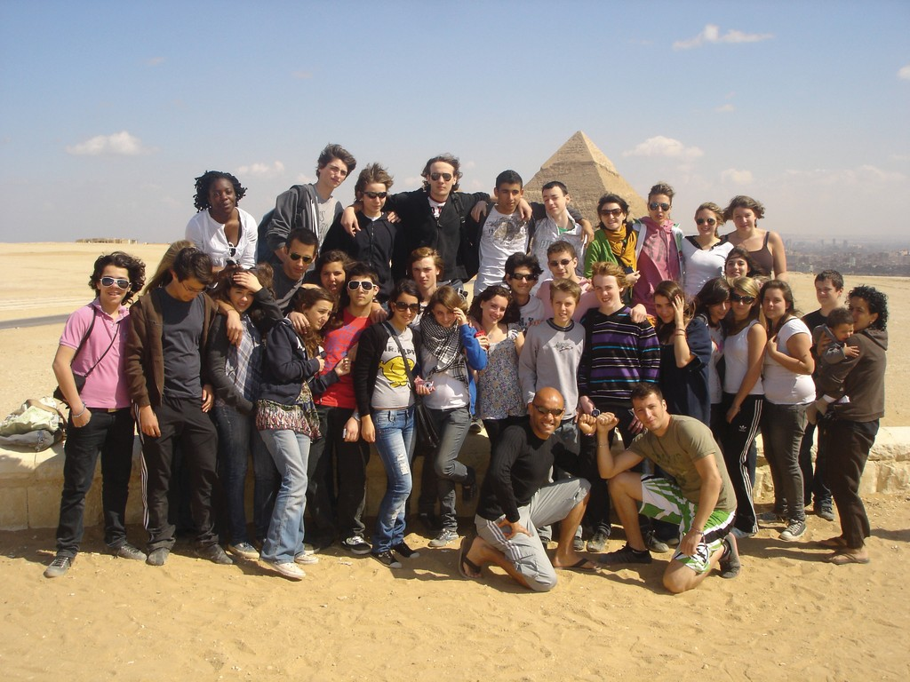 Cecile Vannier, second from top, on the right, poses for a photo with other students, while on a school trip in Egypt in 2009.