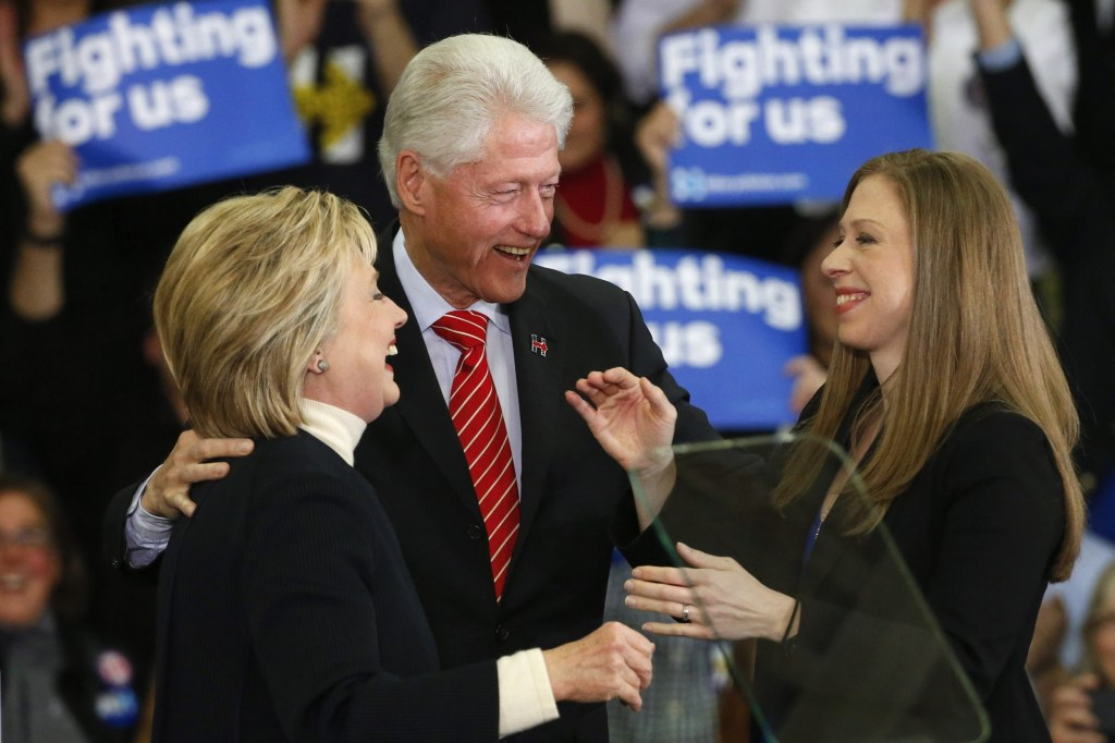 Image: File photo of Chelsea Cllinton with her parents at a rally in Manchester