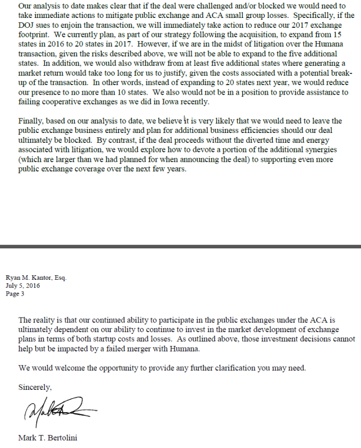 Mark Bertolini letter to the Department of Justice