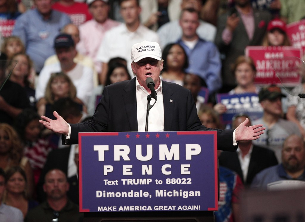 Image: GOP Presidential Candidate Donald Trump Campaigns In Dimondale, Michigan