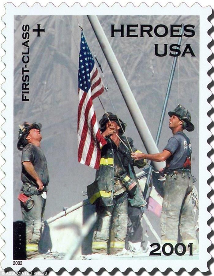 IMAGE: Postage stamp of 9/11 flag photo