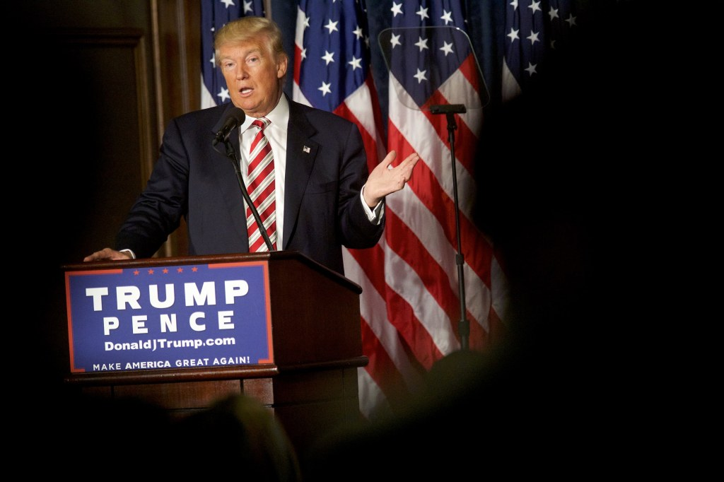 Image: Republican Presidential nominee Donald J. Trump delivers a speech at The Union League of Philadelphia