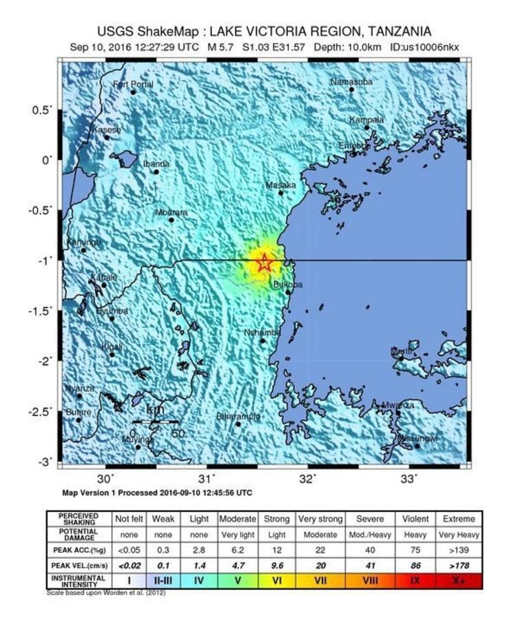 Image: 5.7 magnitude earthquake East NorthEast of Nsunga, Tanzania