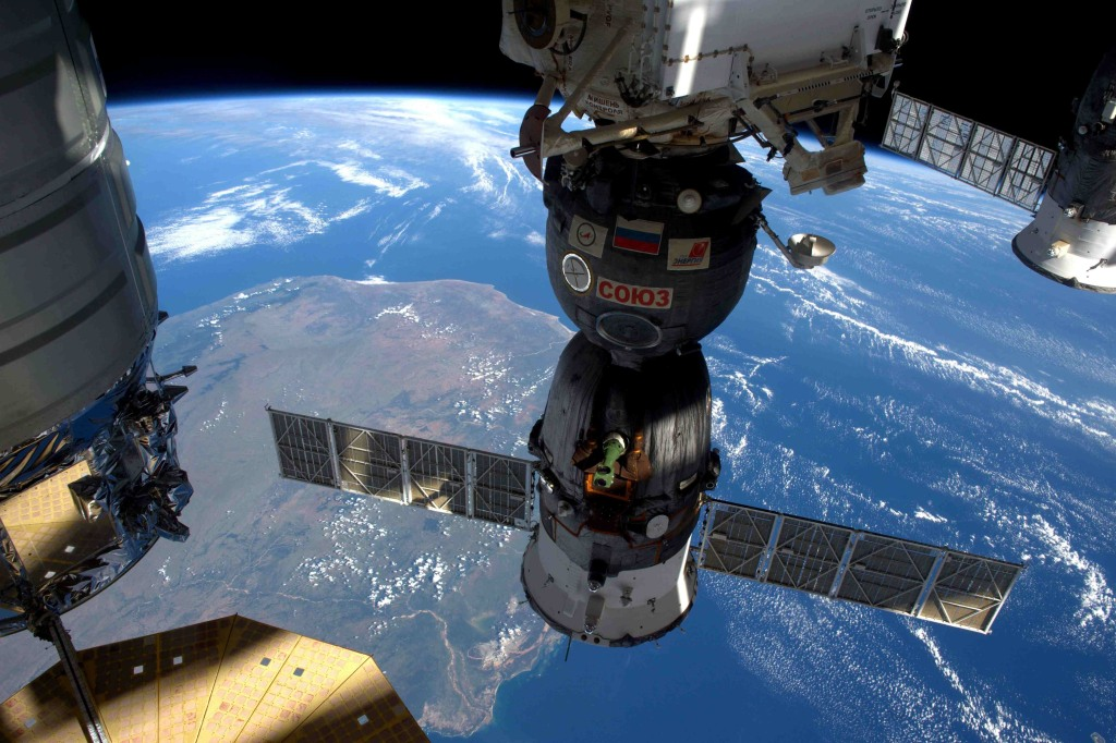 Image: A NASA image showing the International Space Station as it flew over Madagascar on April 6, 2016