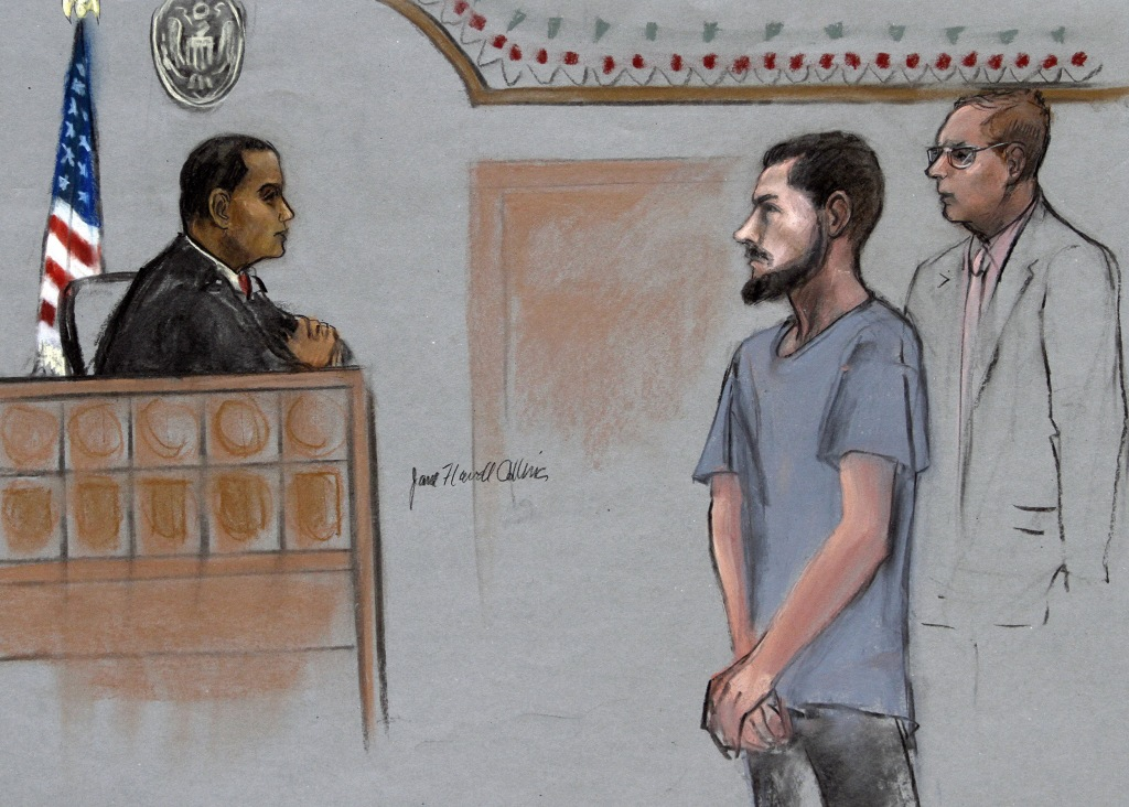 Image: Nicholas Rovinski in court with his attorney