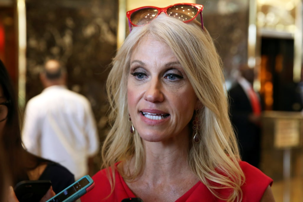 Image: Campaign manager Kellyanne Conway for U.S. Republican presidential nominee Donald Trump speaks to the media at Trump Tower in the Manhattan borough of New York