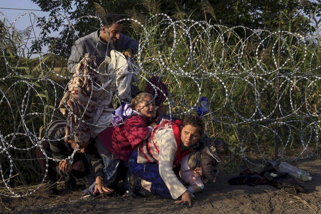 Image: Migrants enter Hungary at border with Serbia in 2015