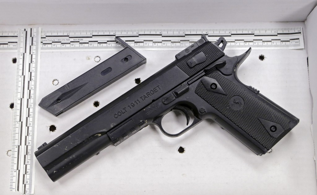 This fake handgun resembling a Colt 1911 pistol was taken from Tamir Rice after he was fatally shot by Cleveland police.