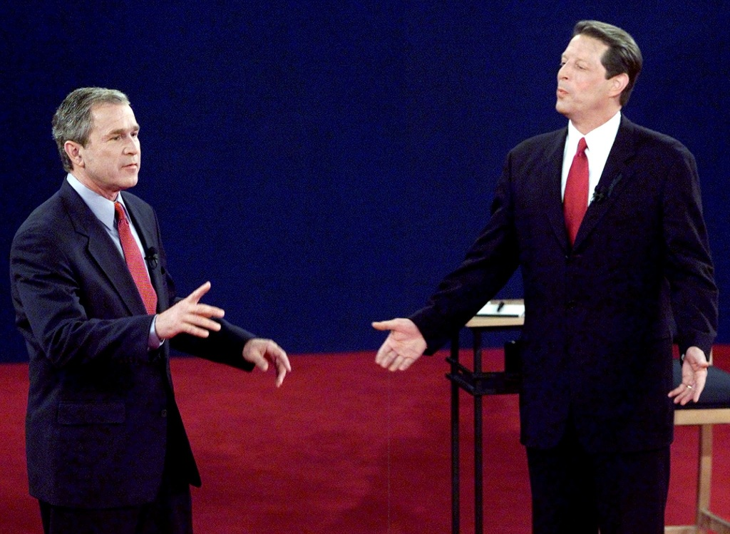 Image: George W. Bush and Al Gore during debate on Oct. 17, 2000