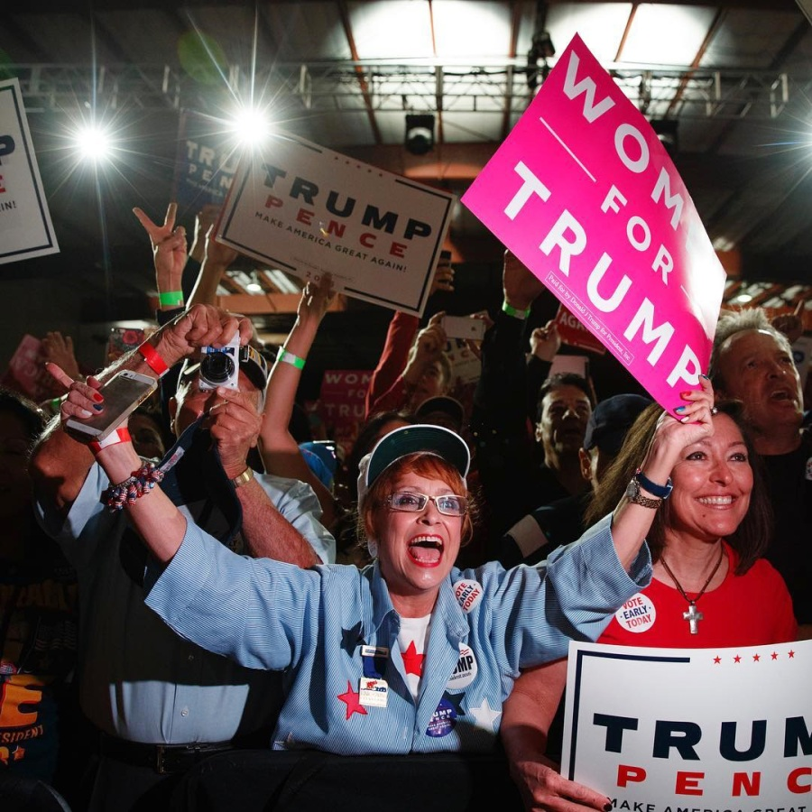 Image: Trump supporters listen as he speaks during a campaign rally in Albuquerque